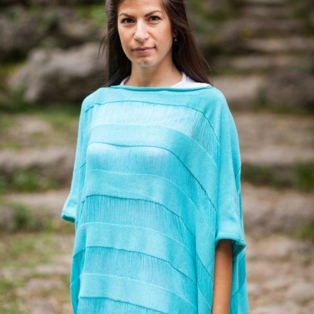 плетено пончо