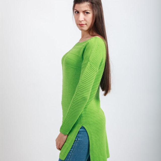 Плетена туника в зелено