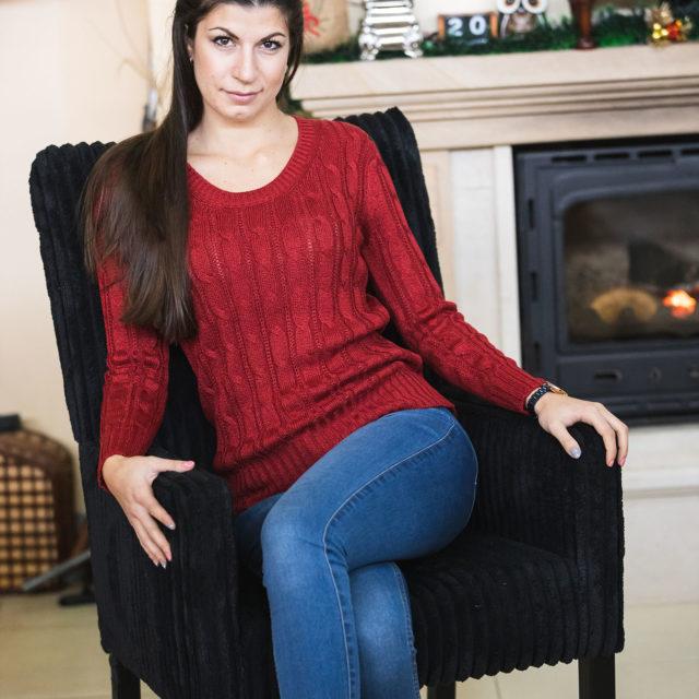 Пуловер Кали в червено 1