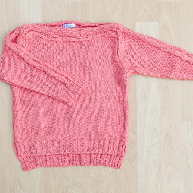 Пуловер с лодка деколте цвят ягода