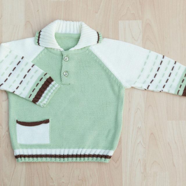 Плетена блузка с якичка и джобче