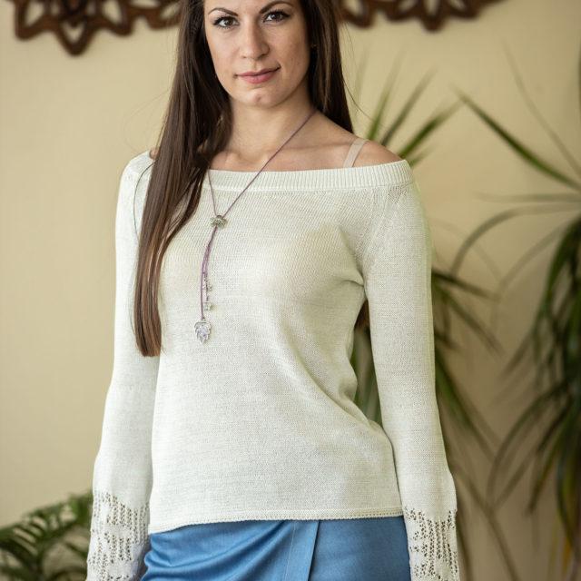 Пуловер Евелина цвят водна лилия 01