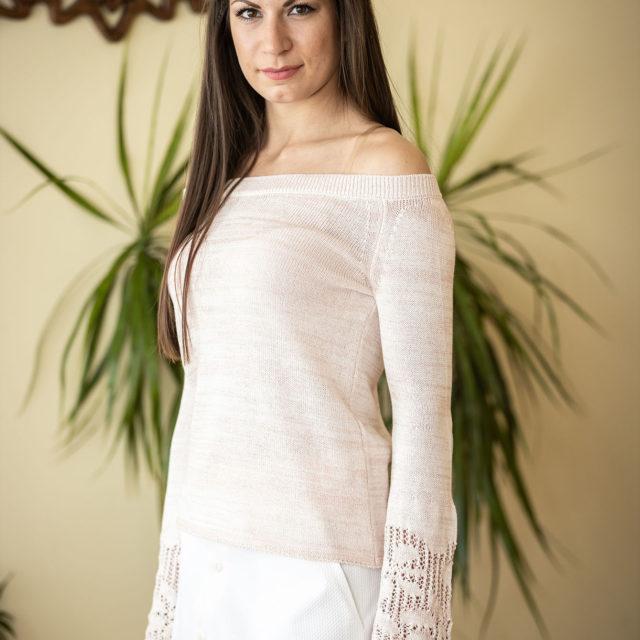 Пуловер Евелина цвят праскова 01