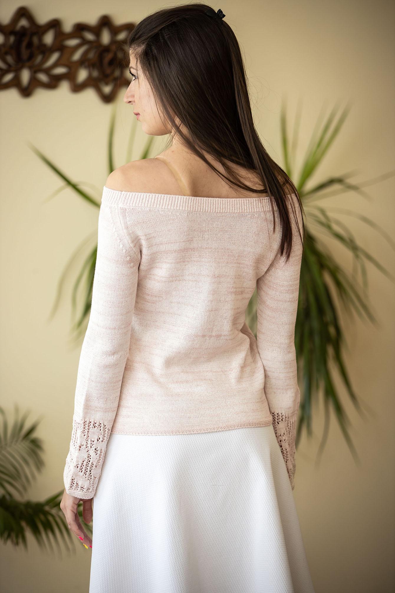 Пуловер Евелина цвят праскова 02