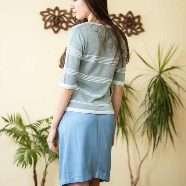 Пуловер Сияна в синьо-зелено 02