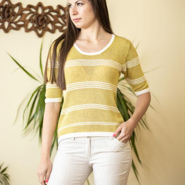 Пуловер Сияна цвят горчица 01