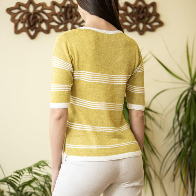 Пуловер Сияна цвят горчица 02