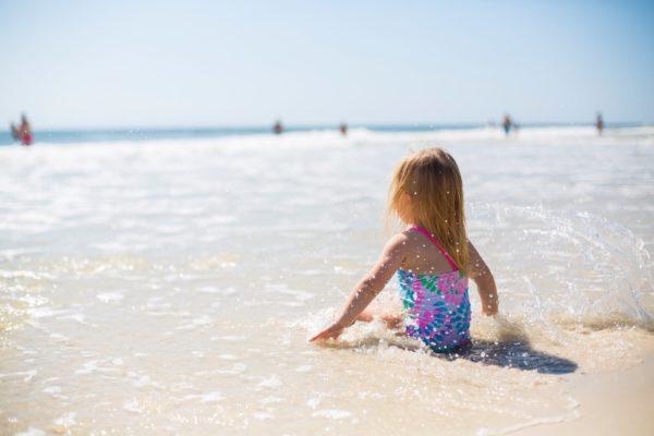 girl beach baby