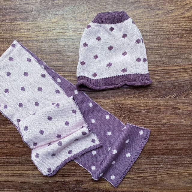 комплект шапка и шал в лилаво