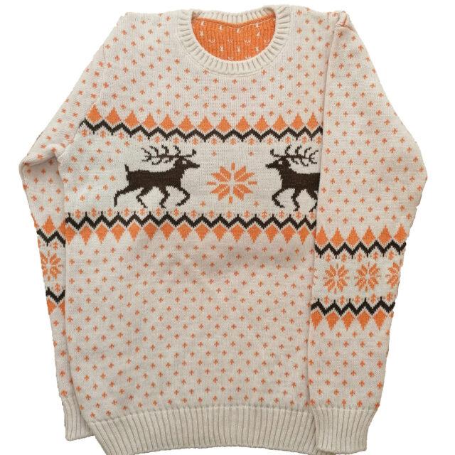 мъжки коледен пуловер в оранжево