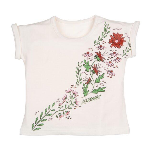 Тениска с принт цветя в бяло