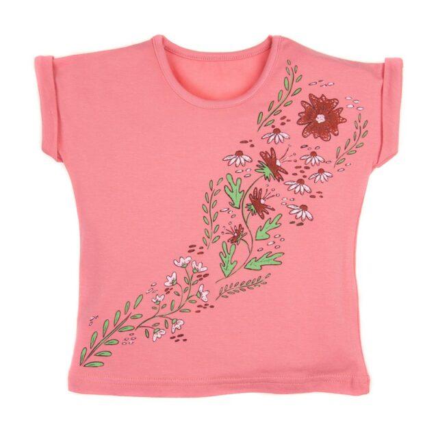 """Тениска с принт """"Цветя"""" в цвят корал за момиче"""