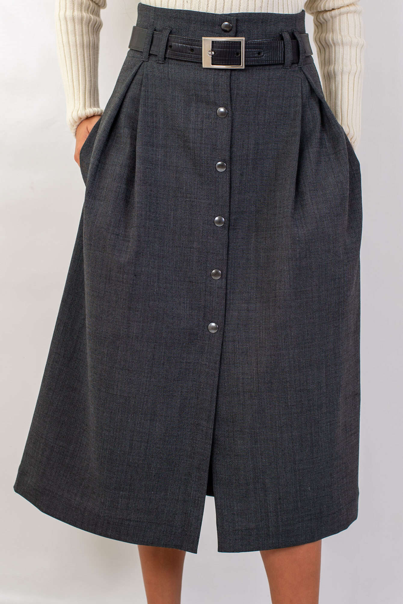 Дълга пола с висока талия в сиво-02