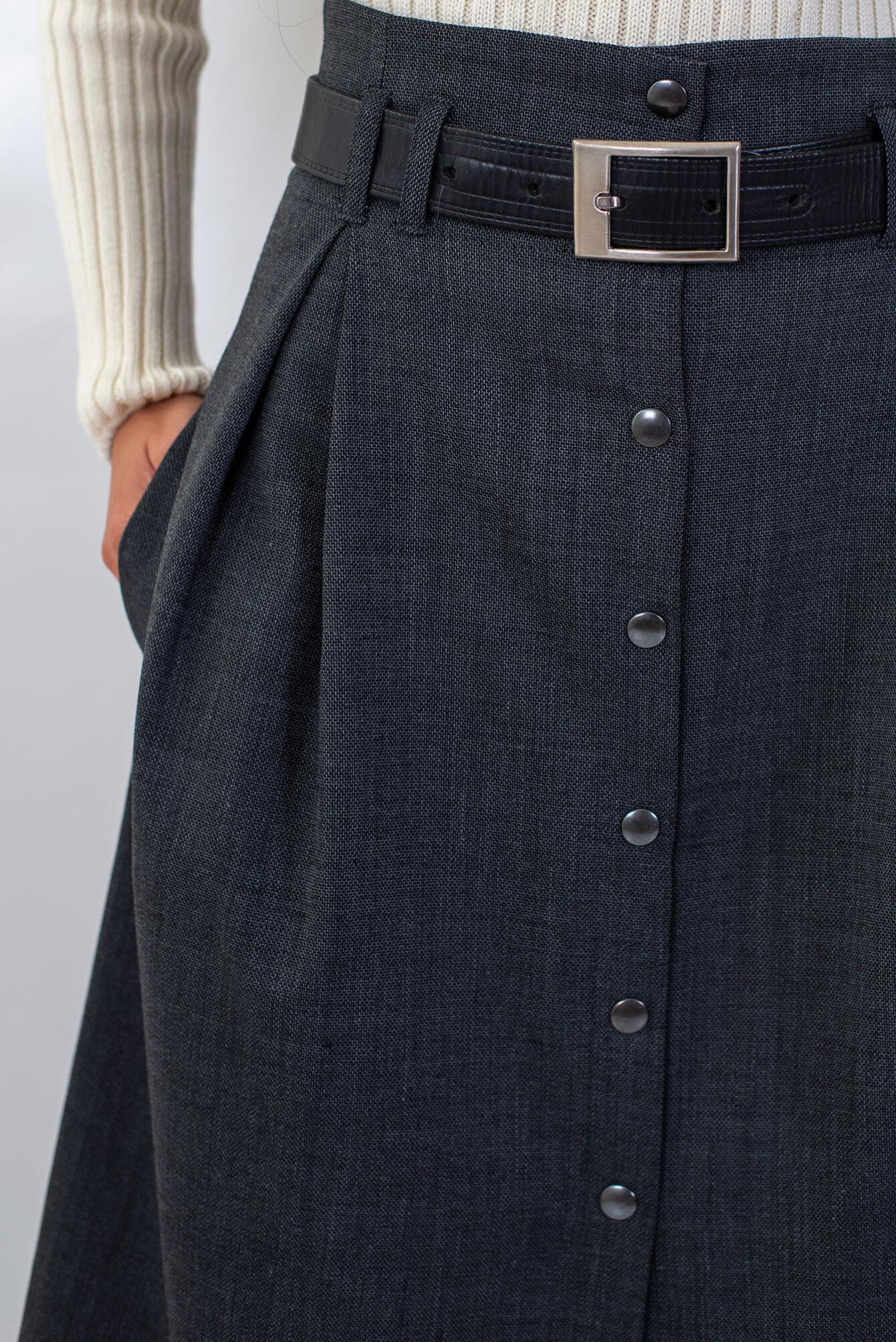 Дълга пола с висока талия в сиво-03