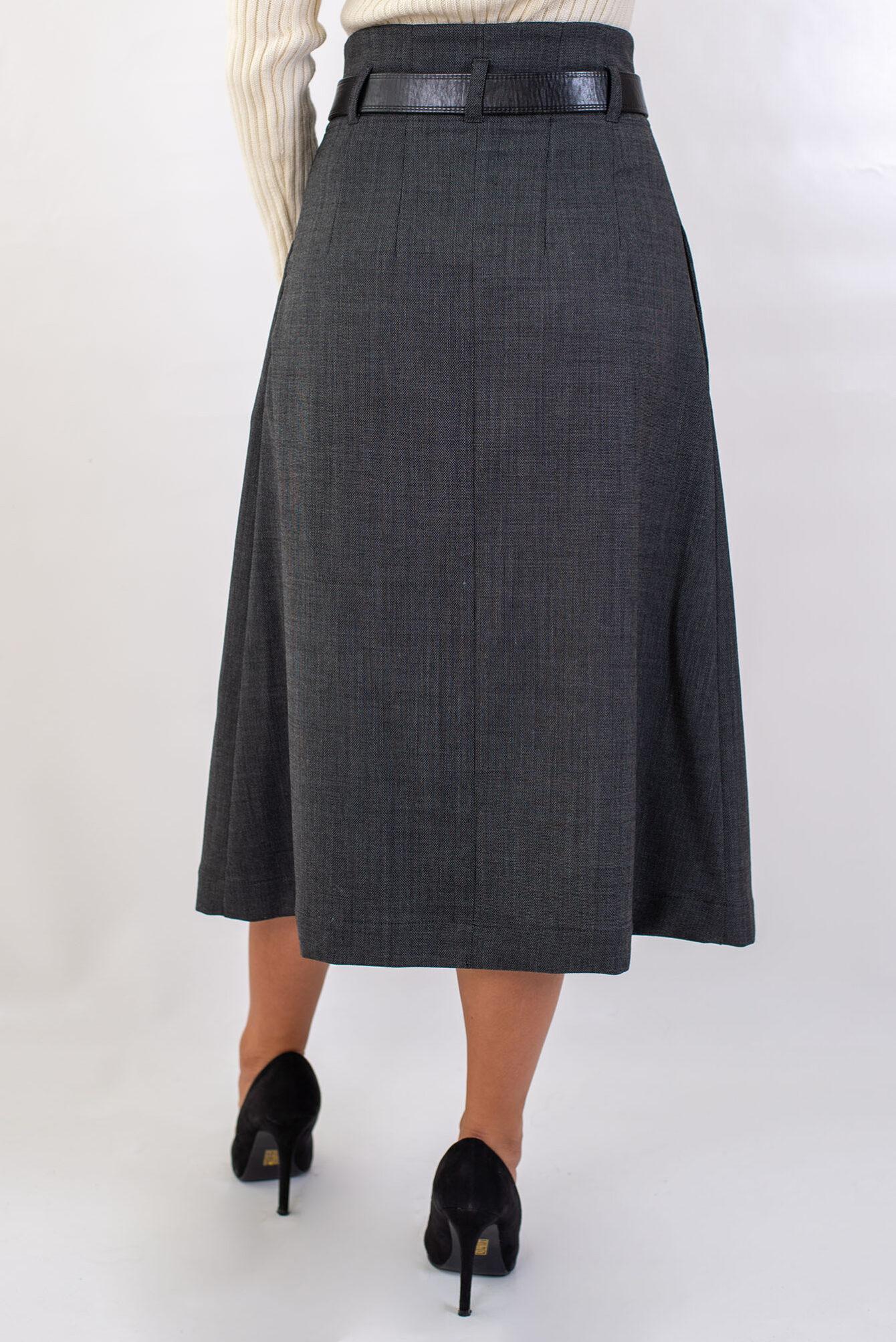 Дълга пола с висока талия в сиво-04