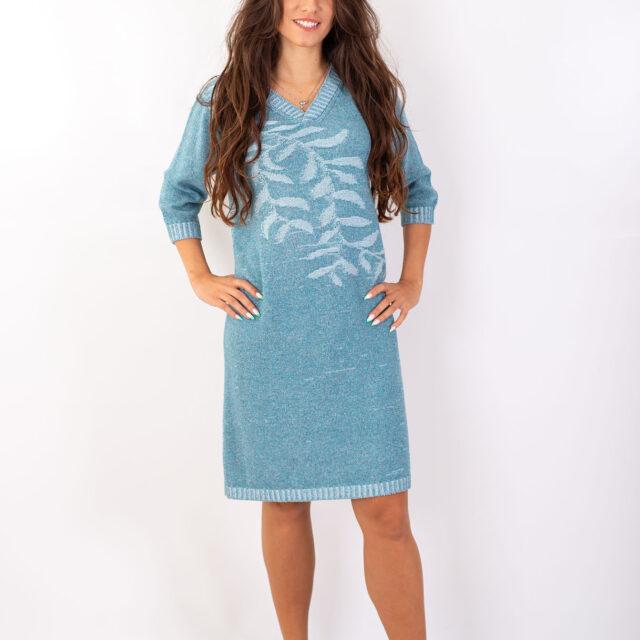 Плетена рокля с есенен мотив в синьо-01