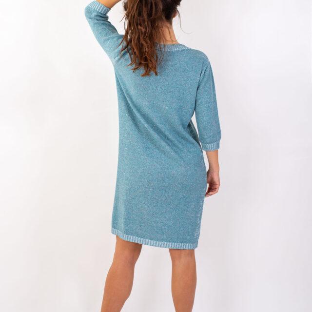 Плетена рокля с есенен мотив в синьо-02