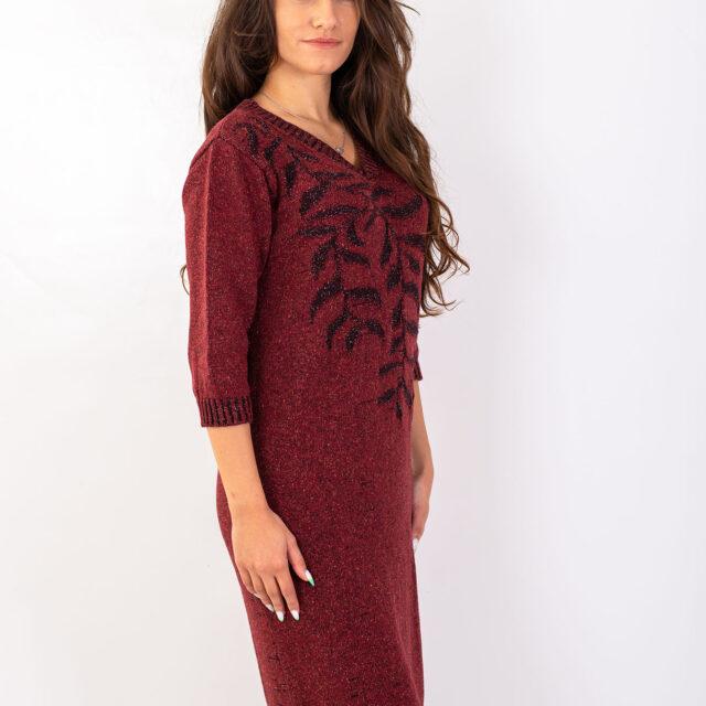 Плетена рокля с есенен мотив в червено-01