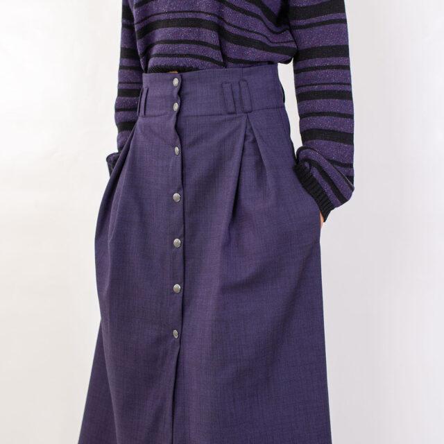 Плетен пуловер с райета в лилаво-02
