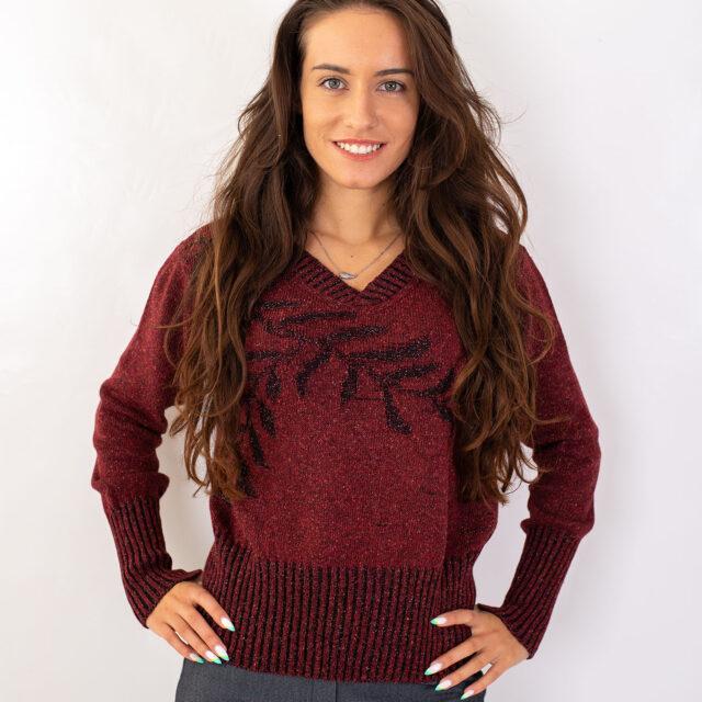 Пуловер с есенен мотив в червено-01